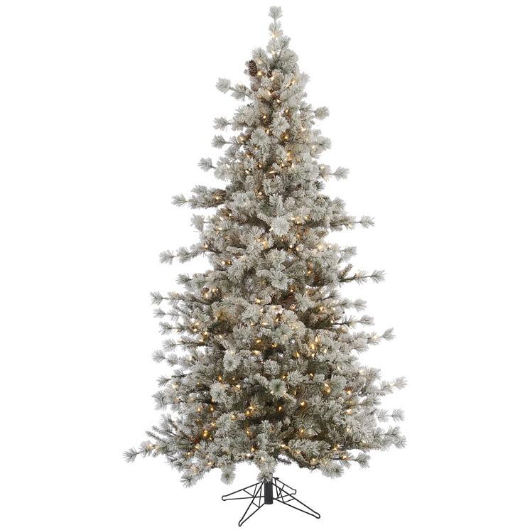 10' Slim Pre-lit Flocked Anchorage Artificial Christmas Tree - Warm White LED Lights