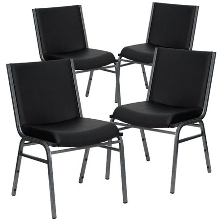 Vinyl Padded Stack Chair - Flash Furniture 4pk HERCULES Series Heavy Duty, 3'' Thickly Padded, Black Vinyl Upholstered Stack Chair