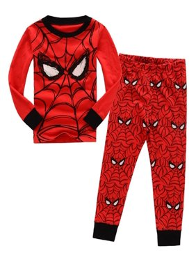 2pcs Boy Kids Long Sleeve Spiderman T-shirt+Pants Outfits Pajama Set Sleepwear
