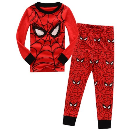 2pcs Boy Kids Long Sleeve Spiderman T-shirt+Pants Outfits Pajama Set Sleepwear](Boys Christmas Jammies)
