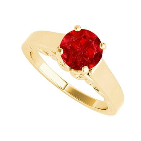 1.00 Carat Ruby Solitaire Ring 18K Yellow Gold Vermeil - image 1 de 2