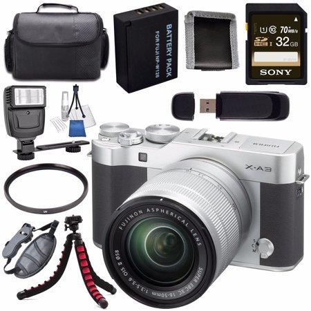 Fujifilm X-A3 Digital Camera w/16-50mm Lens (Silver) + NP-W126 Lithium Ion Battery + 32GB SDHC Card + Carrying Case + Tripod + Flash + Card Reader + Memory Card Wallet