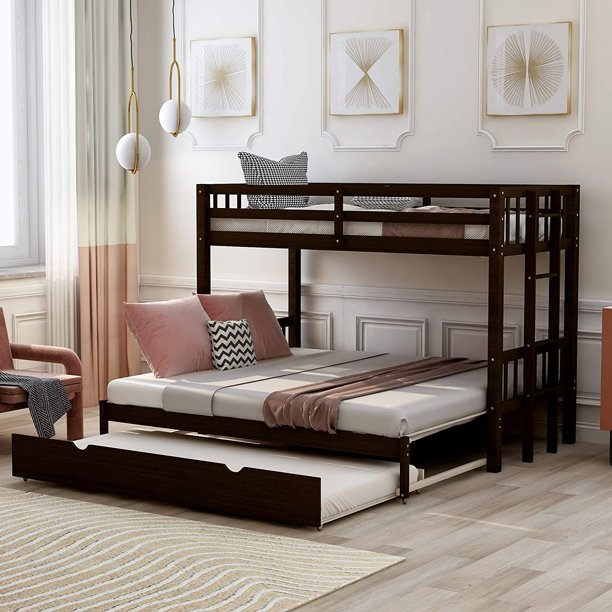 Churanty Twin Over Pull Out Bunk Bed With Trundle Espresso Walmart Com Walmart Com