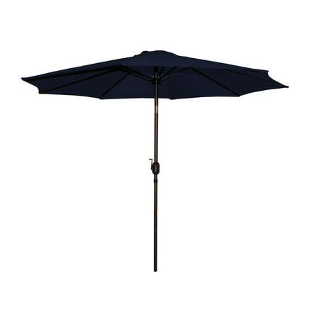 9\' Outdoor Patio Market Umbrella with Hand Crank and Tilt - Navy ...
