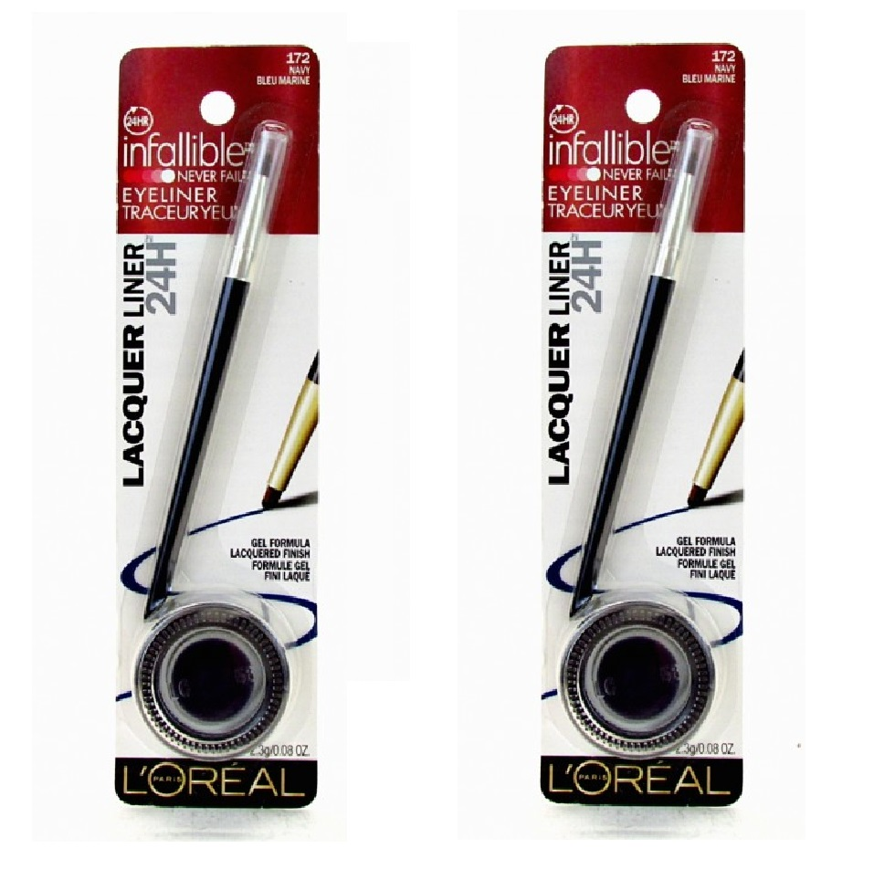 L'Oreal Infallible Never Fail Gel Eyeliner, Lacquer Liner, #172 Navy, Blue Marine (2 Pack)