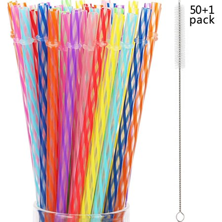 Color Changing Straws (50 Pieces Reusable Drinking Straw Thick Plastic Straws with Cleaning Brush Straw Cleaner (11 Inch, Multi Color)