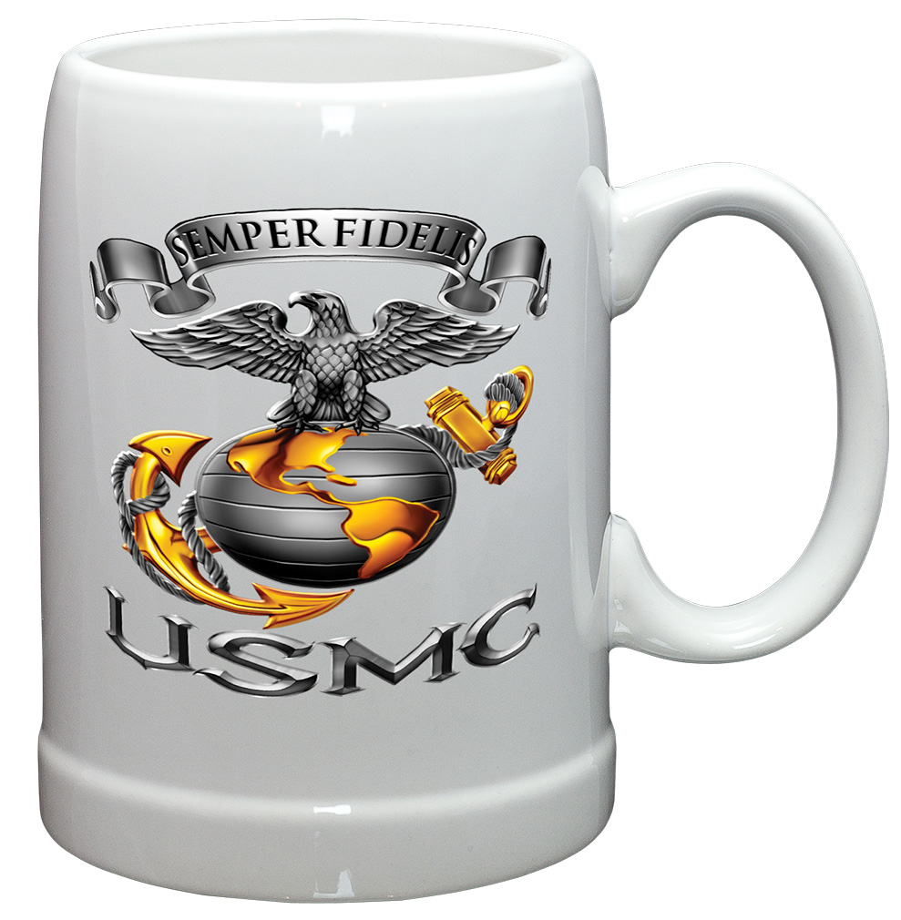 German Beer Stein � US Marine Corps Gifts for Men or Women � USMC-Semper Fidelis StoNeware... by