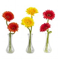 Gerber Daisy with Bud Vase -Set of 3