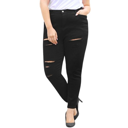 Skinny Zip Fly Jeans (Women's Plus Size Zip Fly Mid Rise Skinny Ripped Jeans )