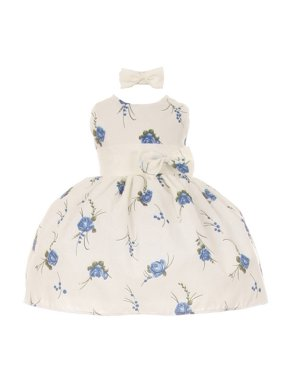 63482f80 Product Image Little Girls Turquoise Floral Print Headband Special Occasion  Dress 2T