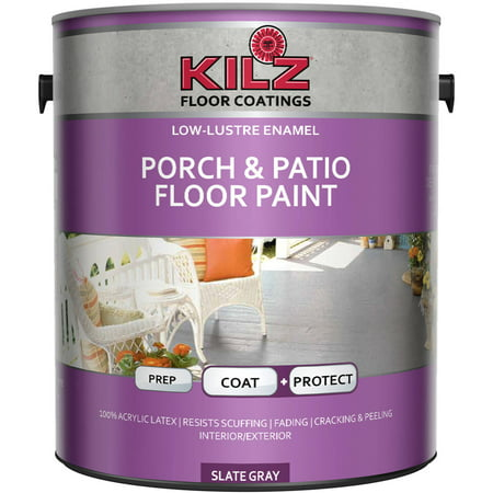 KILZ Interior/Exterior Enamel Porch and Patio Latex Floor Paint, Low-Lustre, 1 gal (Concrete Floor Paint)
