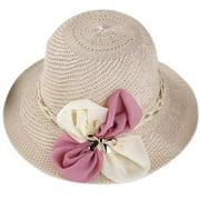 TureClos Women Knitted Floral Sun Hat Straw Hat Summer Beach Hat Sun Shade