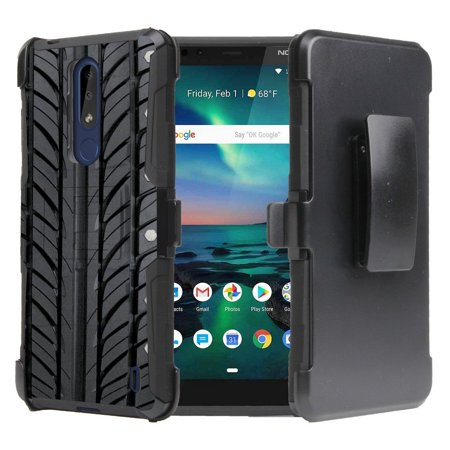 Beyond Cell Armor Series Compatible with Nokia 3.1 Plus (Cricket) Case, Heavy Duty Rugged Double Layer Case with Built-in Stand, Rotatable Belt Clip Holster and Atom Cloth -
