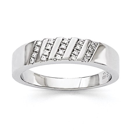 925 Sterling Silver Cubic Zirconia Cz Mens Band Ring Size 11 00