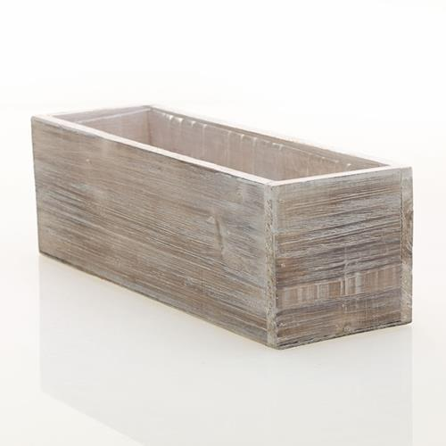 Rustic Whitewash Wood Planter Box With Plastic Liner 12 X 4 Inch