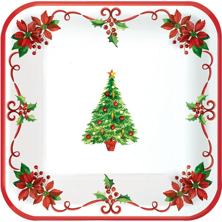 Traditional Christmas Tree 40 Ct Square Plates 9