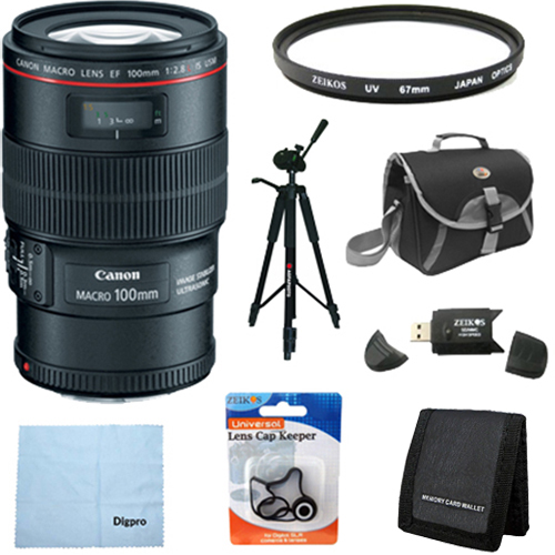 Canon EF 100mm f/2.8L IS USM 1-to-1 Macro Lens for Canon Digital SLR Cameras w/ 67mm Multicoated UV Protective Filter, Deluxe Bag, Lens Cap Keeper, Microfiber Cleaning Cloth, Memory Card Wallet, USB