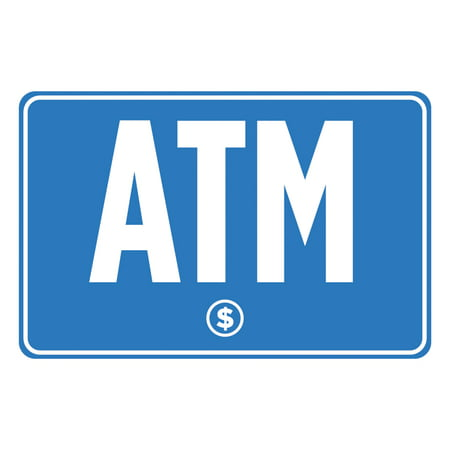ATM Blue White Print Dollar Symbol Poster Business Store Gas Station Horizontal Window Print Sign (Dollar Store Signs)