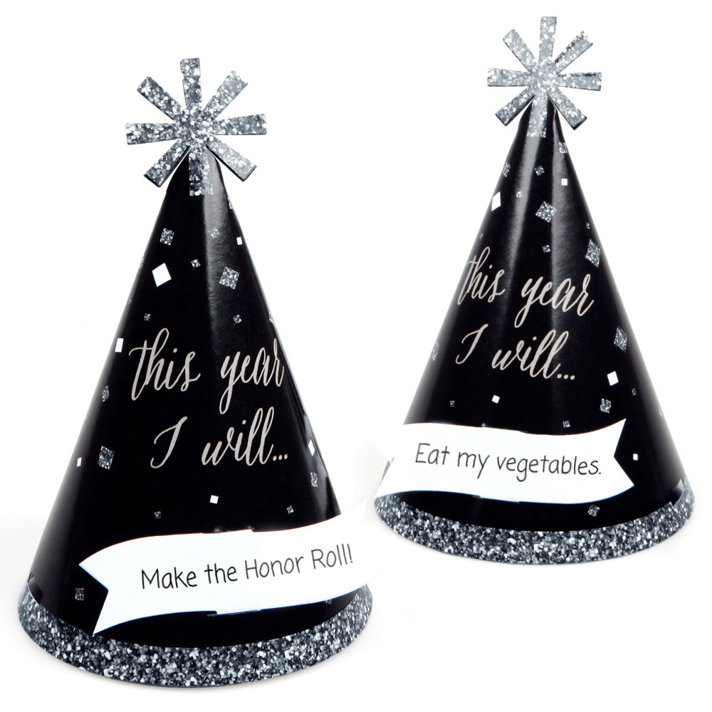 New Year's Eve - Silver - Cone New Year's Eve Resolution Party Hats - Set of 16 (Kid Size)