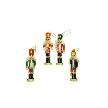 Pack of 4 Red Blue and Green Decorative Wooden Christmas Nutcracker Ornaments 5