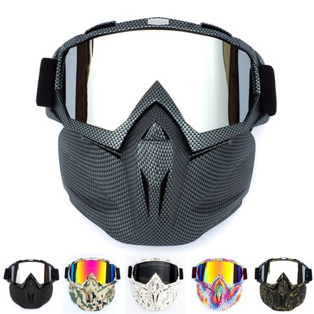 Retro Outdoor Cycling Mask Goggles Motocross Ski Snowboard Snowmobile Face Mask Shield Glasses Eyewear Fluorescent green frame imitation red lens Face Shield Frame