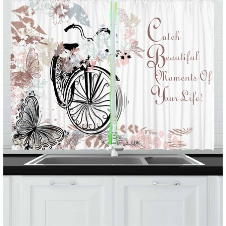 Spring Curtains 2 Panels Set, Vintage Bike Covered by Soft Tone Blooms Leaves in the Park Butterflies Flying Theme, Window Drapes for Living Room Bedroom, 55W X 39L Inches, Multicolor, by Ambesonne