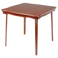 Hardwood Classic Scalloped Edge Folding Card table - Light cherry finish