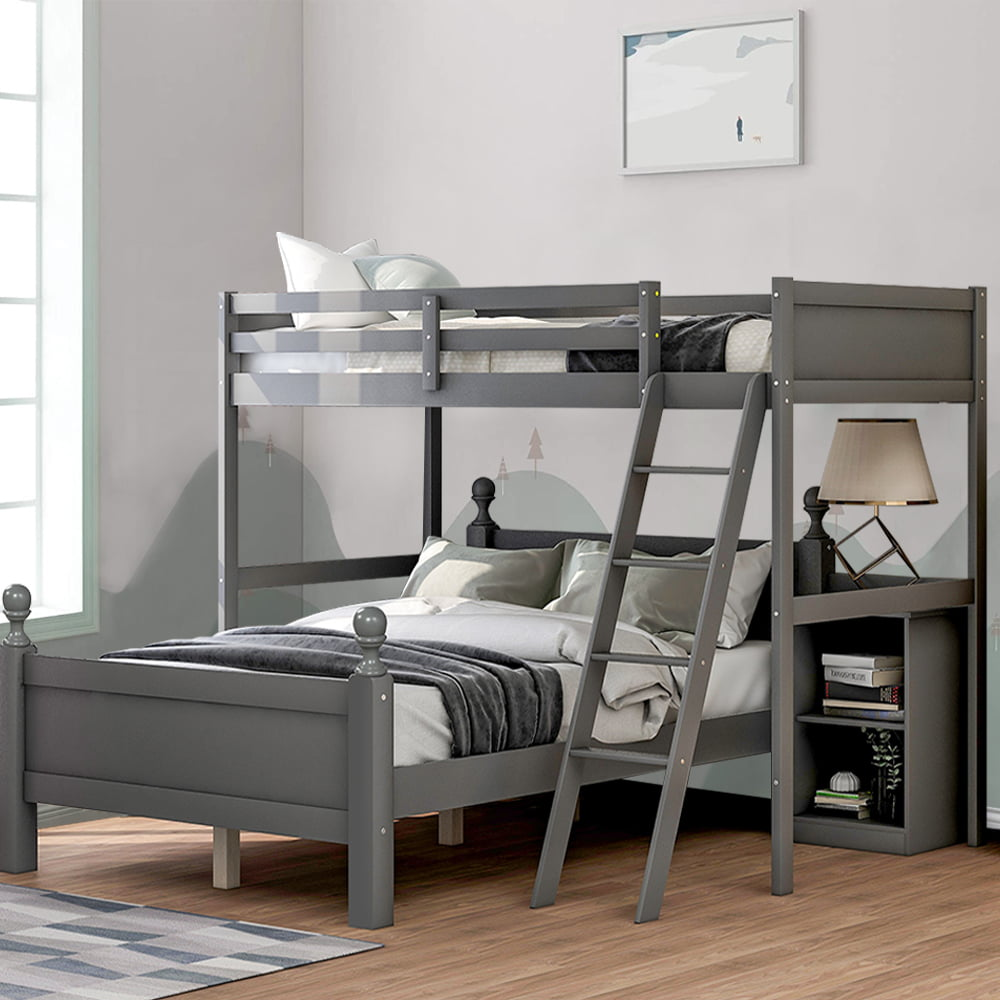 Heavy Duty Bunk Bed Twin Over Full Bunk Bed Frame With Guardrails And Ladder Modern Separable Wooden Bunk Bed For Bedroom Twin Over Full Loft Bed With Cabinet No Need Spring Box