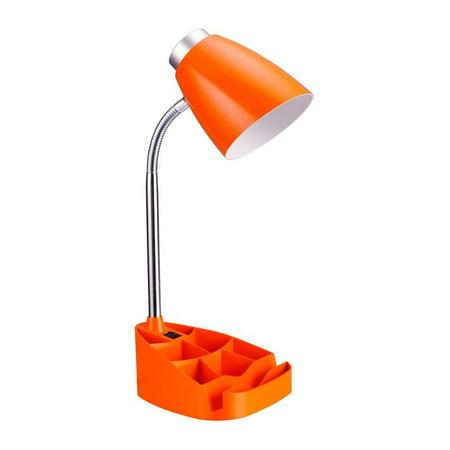 Limelights Organizer Gooseneck Desk Lamp with Tablet Stand for Dorm Room, Orange