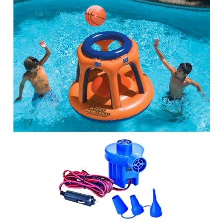 Inflatable Basketball Hoop (Swimline 90285 Basketball Hoop Shootball Inflatable Pool Toy + Electric Air)