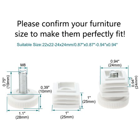 Adjustable Leveling Feet 25 x 25mm Tube Inserts Furniture Table Glide 8 Sets - image 5 of 8