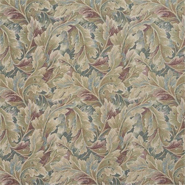 Designer Fabrics D569 54 in. Wide Burgundy And Green, Floral Leaf Tapestry Upholstery Fabric