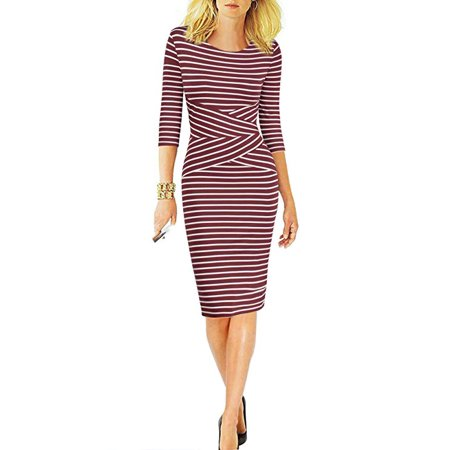 - Women 3/4 Sleeve Striped Wear to Work Business Cocktail Pencil Dress