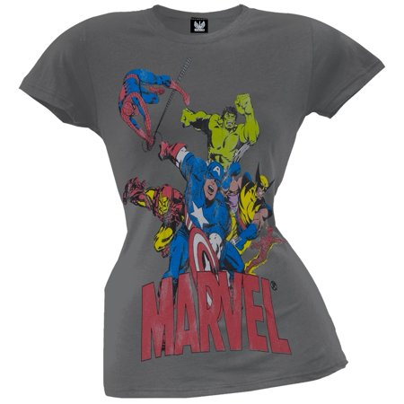Marvel - 6 Heroes Dark Grey Juniors T-Shirt](Marvel Heroes Womens)