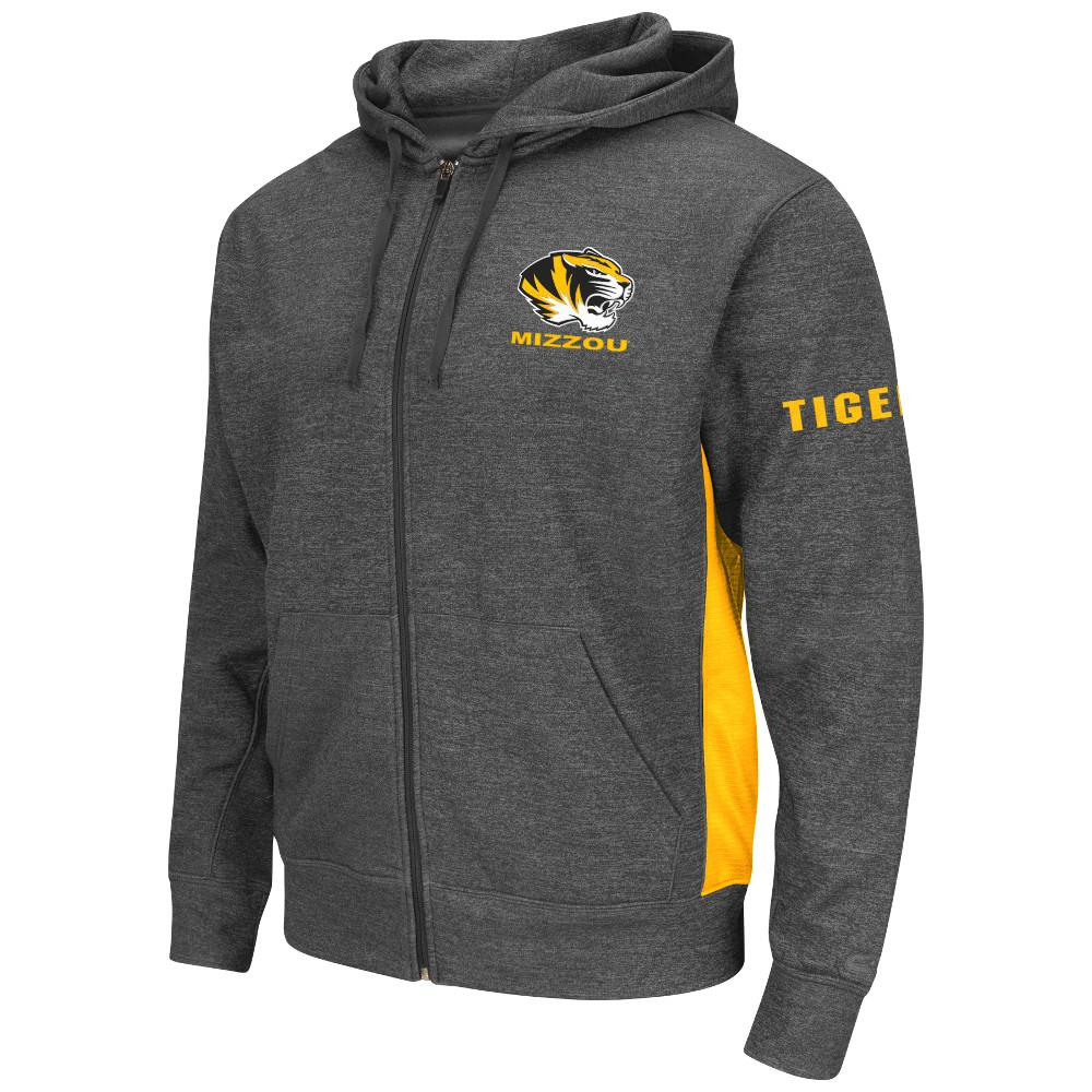 Mens NCAA Missouri Tigers Full-zip Hoodie (Heather Charcoal) by Colosseum