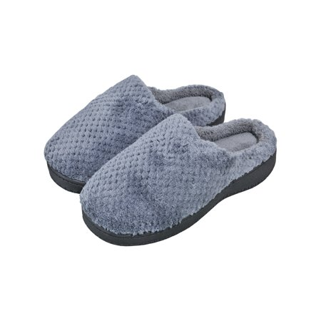 Comfort Coral Fleece Memory Foam Slippers Fuzzy Plush Lining Slip-on Clog House Shoes for Indoor & Outdoor Use