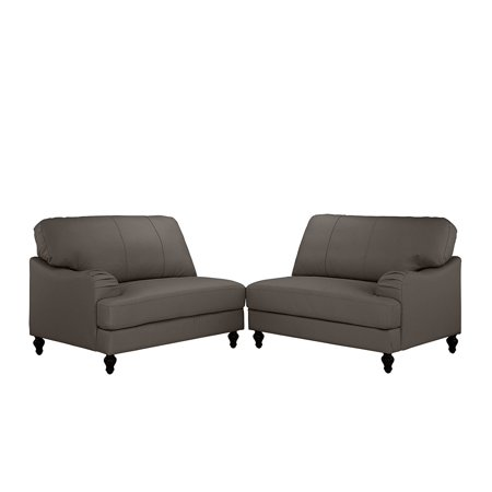 Classic 2 Piece 100% Real Leather Sofa, Convertible Living Room ...