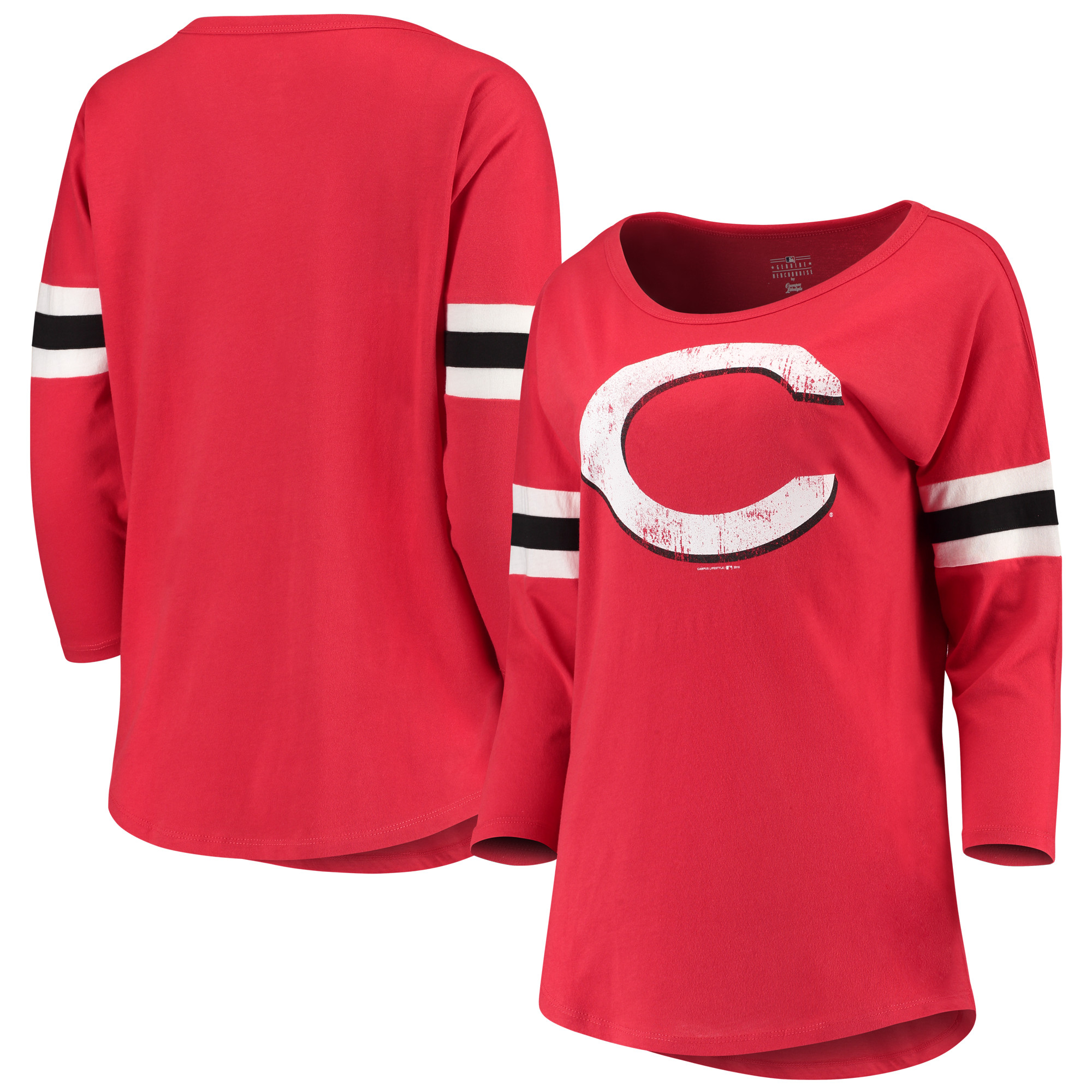 Women's New Era Red Cincinnati Reds Scoop Neck 3/4-Sleeve T-Shirt
