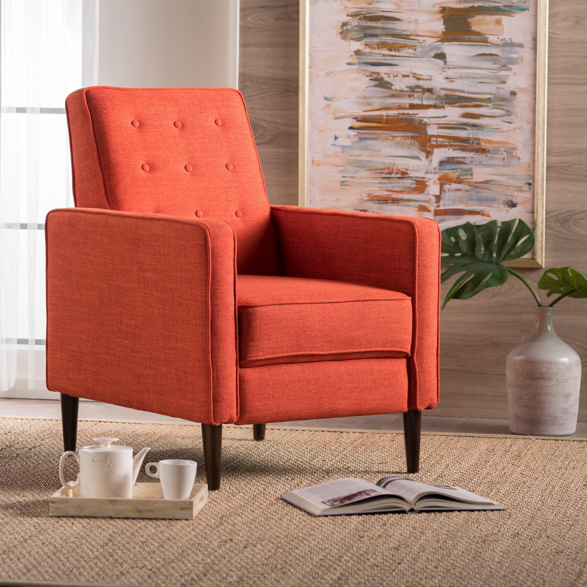 Noble House Caden Mid Century Modern Tufted Fabric Recliner, Muted Orange
