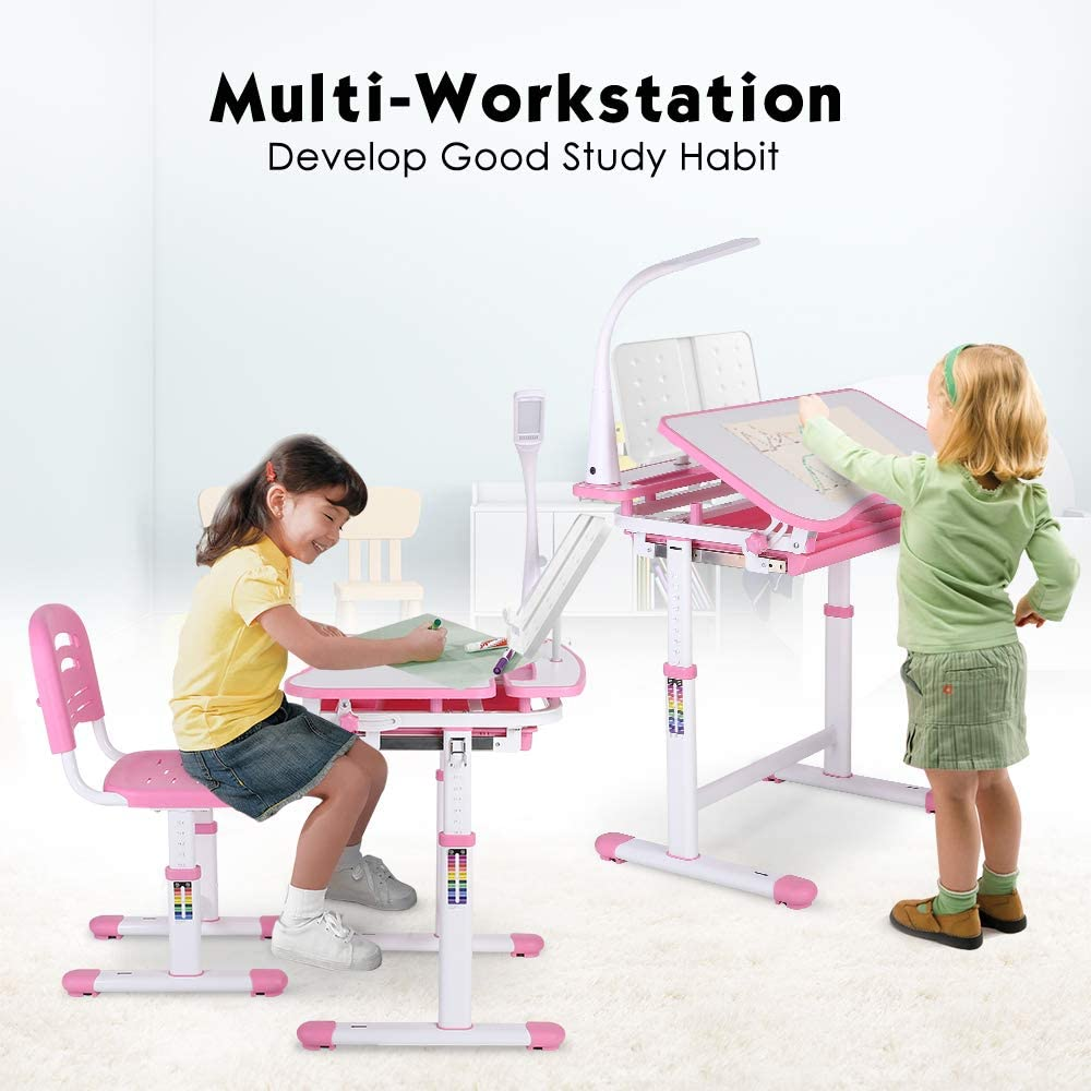 POTBY Kids Desk and Chair Set Bookstand Height Adjustable Children Study Table with Wood Tiltable Anti-Reflective Tabletop Gray Pull-Out Drawer Storage and Touch Led for School Students