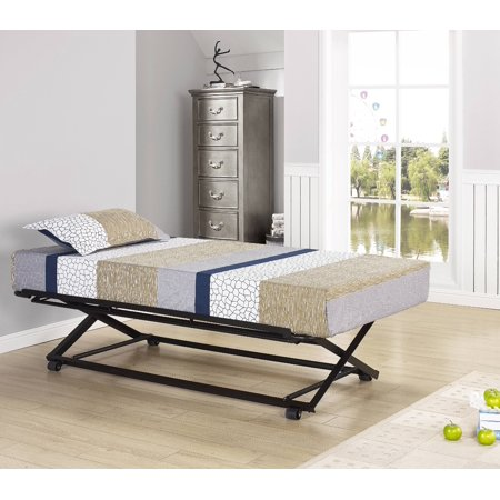 39 Twin Size Black Metal Pop Up High Riser Trundle Bed