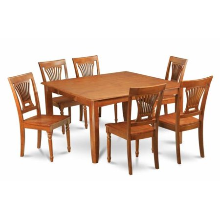 East West Furniture PFPL7-SBR-W 7-Piece Parfait Square Table with 18 in. Butterfly Leaf & 6 Faux Leather upholstered Seat Chairs in Saddle Brown Finish