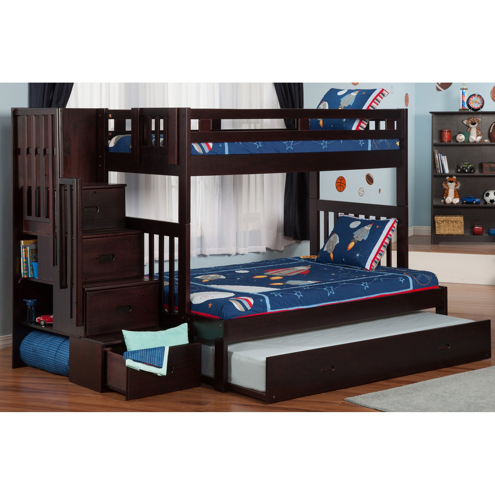 Atlantic Furniture Cascade Staircase Twin Over Full Bunk Bed