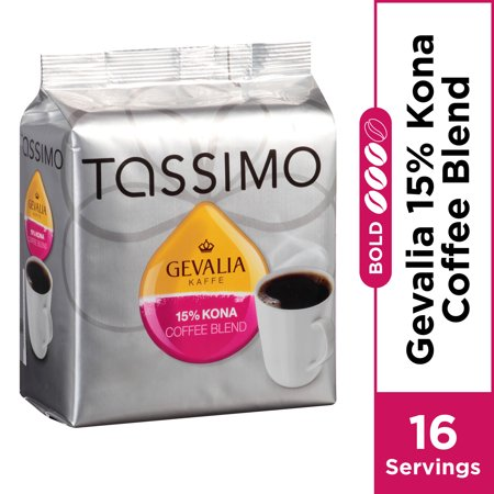 Gevalia 15% Kona Blend Coffee, T-Discs for Tassimo Brewing Systems, 16 Count