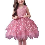 Princess Irregular Mesh Tulle Tutu Girl Dress Wedding Pageant Party Dresses for Kids Toddler Birthday Formal Gown Sleeveless Lace Tutu Dress