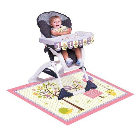 091671, 1St Birthday High Chair kit, Happy Woodland-Girl, High chair kit for baby's 1st birthday is a plastic bib, decorative banner and floor Mat By Creative Converting thumbnail