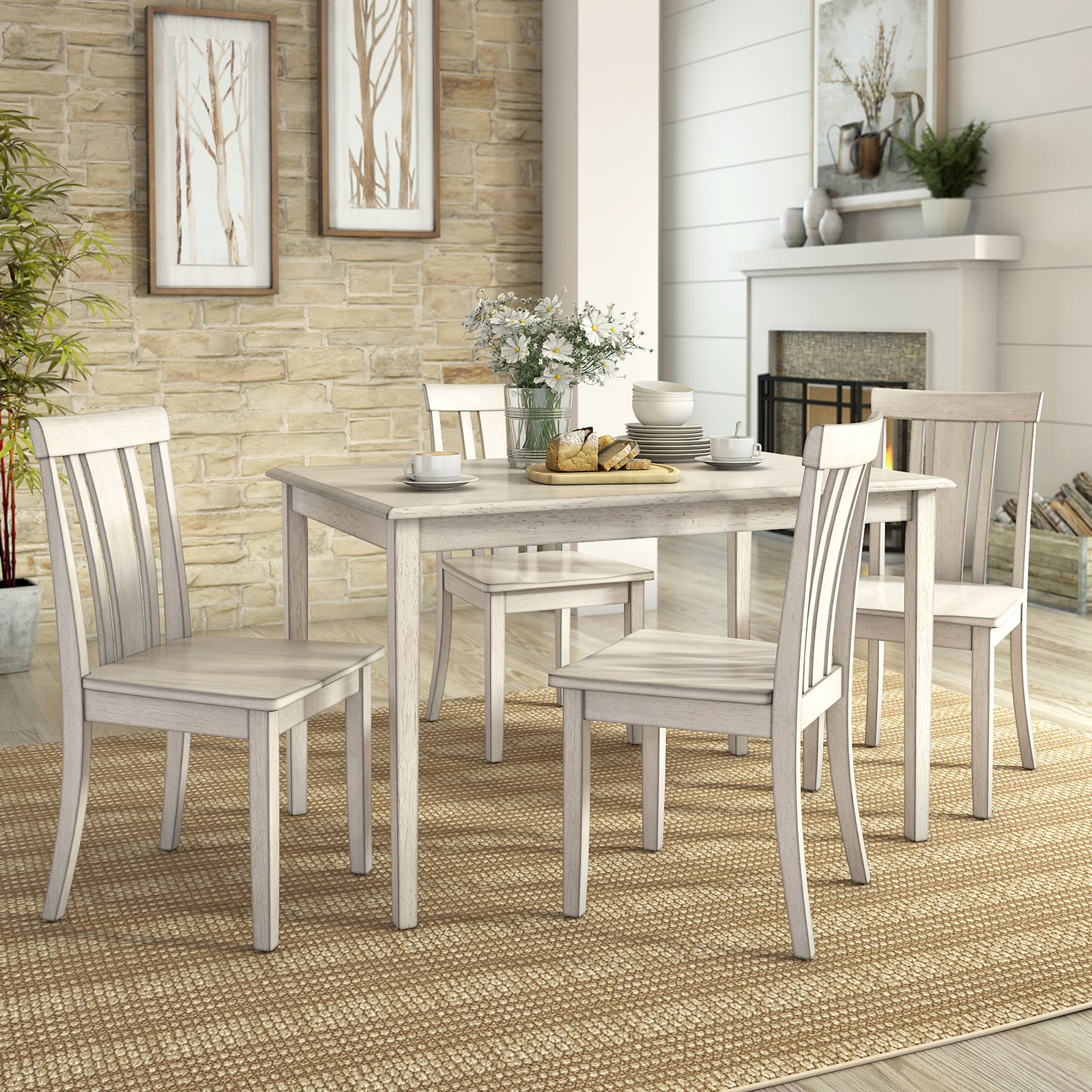 Lexington 5-Piece Dining Set with 4 Slat Back Chairs