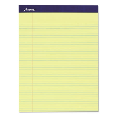 Ampad Legal Ruled Pad, 8 1/2 x 11, Canary, 50 Sheets, 4 Pads/Pack -TOP20215