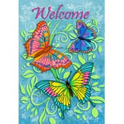 """Welcome Butterflies Spring Garden Flag Colorful Butterfly Yard Banner 12"""" x 18"""""""