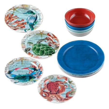 Melamine Dishware - Gourmet Art 12-Piece Sealife Melamine Dinnerware Set